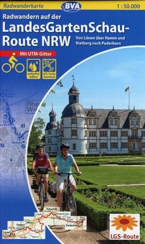 Radwanderkarte BVA Radwandern auf der LandesGartenSchau-Route NRW 1:50:000, reiß- und wetterfest, GPS-Tracks Download: Von Lünen über Hamm und Rietberg nach Paderborn (Radwanderkarte 1:50.000) | Cover