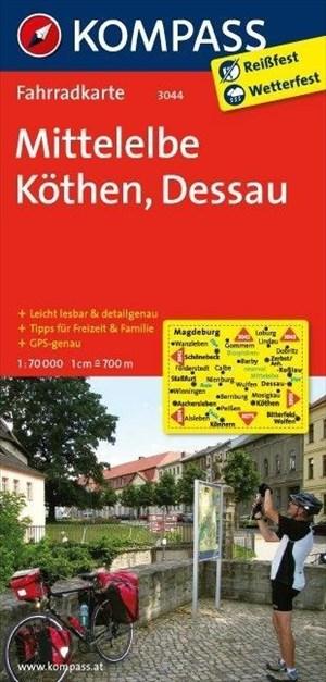 KOMPASS Fahrradkarte Mittelelbe - Köthen - Dessau: Fahrradkarte. GPS-genau. 1:70000 (KOMPASS-Fahrradkarten Deutschland, Band 3044)   Cover