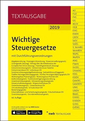 Wichtige Steuergesetze: mit Durchführungsverordnungen. (Textausgabe)   Cover
